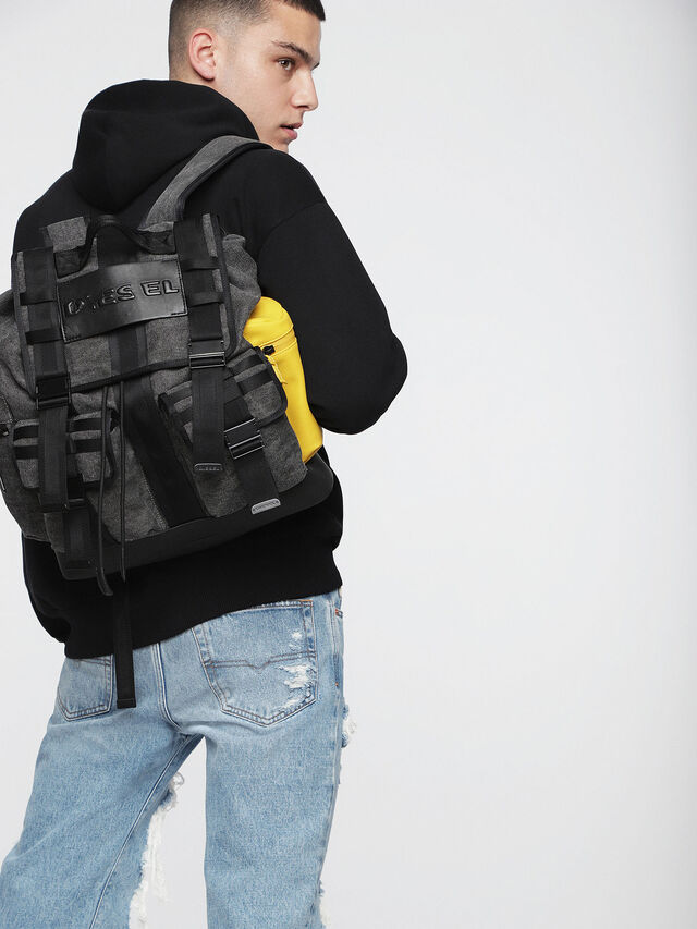 Diesel - M-CAGE BACK, Gray/Black - Backpacks - Image 5