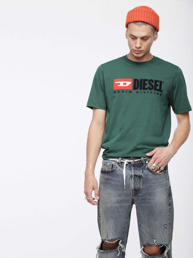 Diesel - T-JUST-DIVISION, Bottle Green - T-Shirts - Image 1