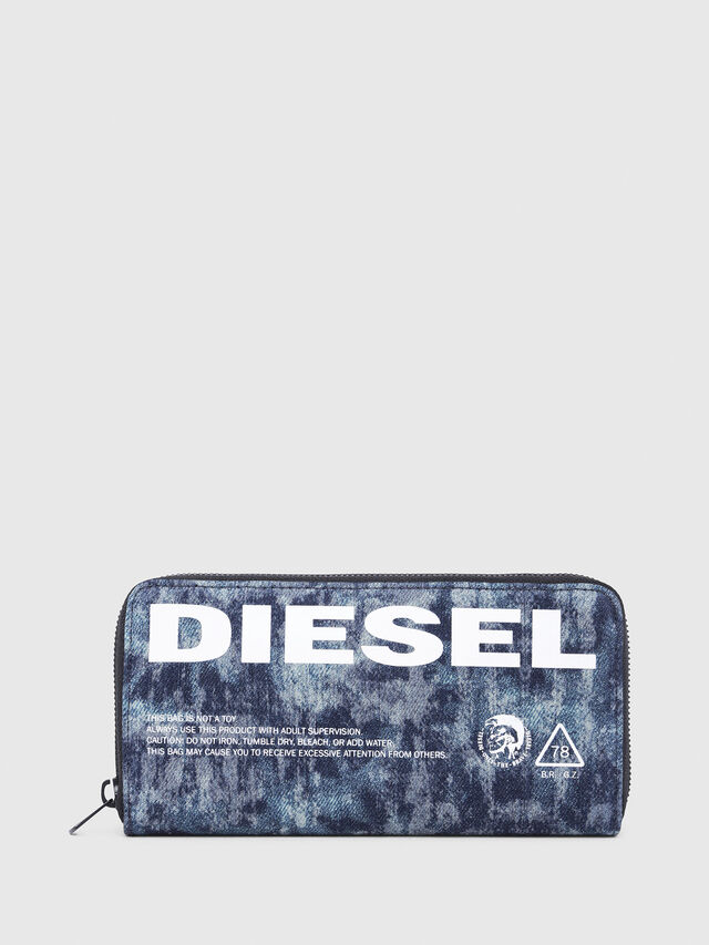 Diesel - 24 ZIP, Blue/White - Zip-Round Wallets - Image 1