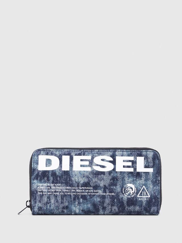 Diesel - 24 ZIP, Blue/White - Zip-Round Wallets - Image 1