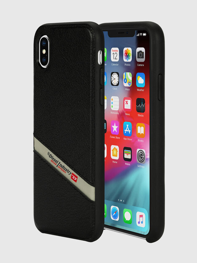 Diesel - DIESEL LEATHER CO-MOLD CASE FOR IPHONE XS MAX, Black - Cases - Image 1