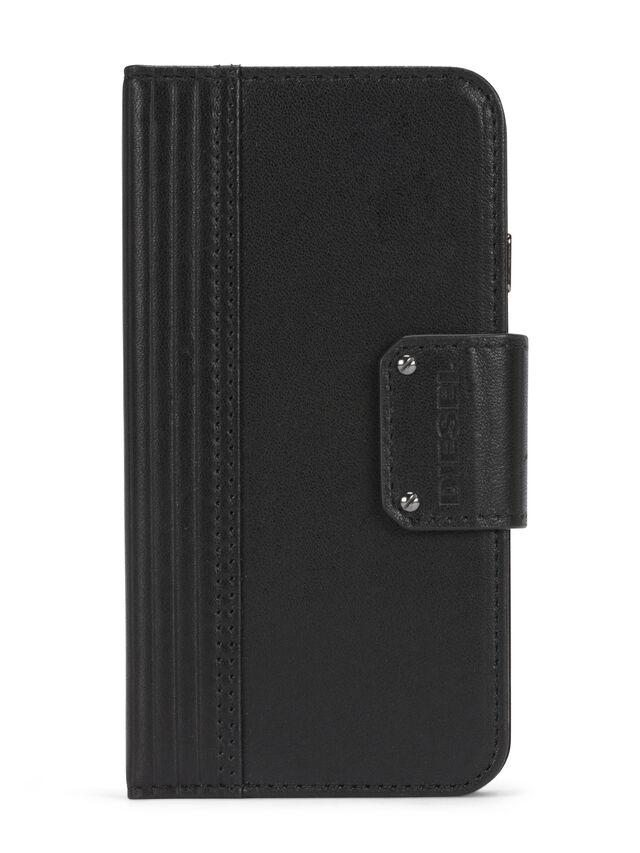 Diesel - BLACK LINED LEATHER IPHONE 8 PLUS/7 PLUS FOLIO, Black - Flip covers - Image 1