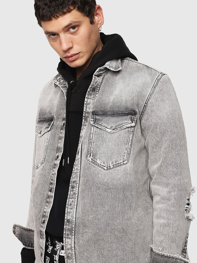 Diesel - D-ROOKE-L, Light Grey - Denim Shirts - Image 3