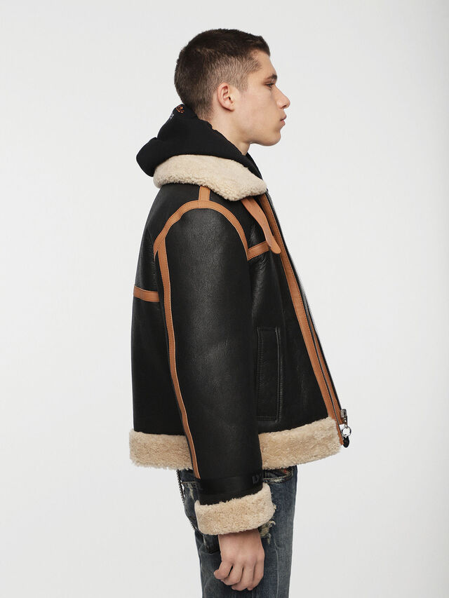 Diesel - L-FOLSON, Black/Brown - Leather jackets - Image 5