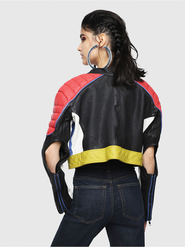 Diesel - L-SKYLAR, Multicolor/Black - Leather jackets - Image 2