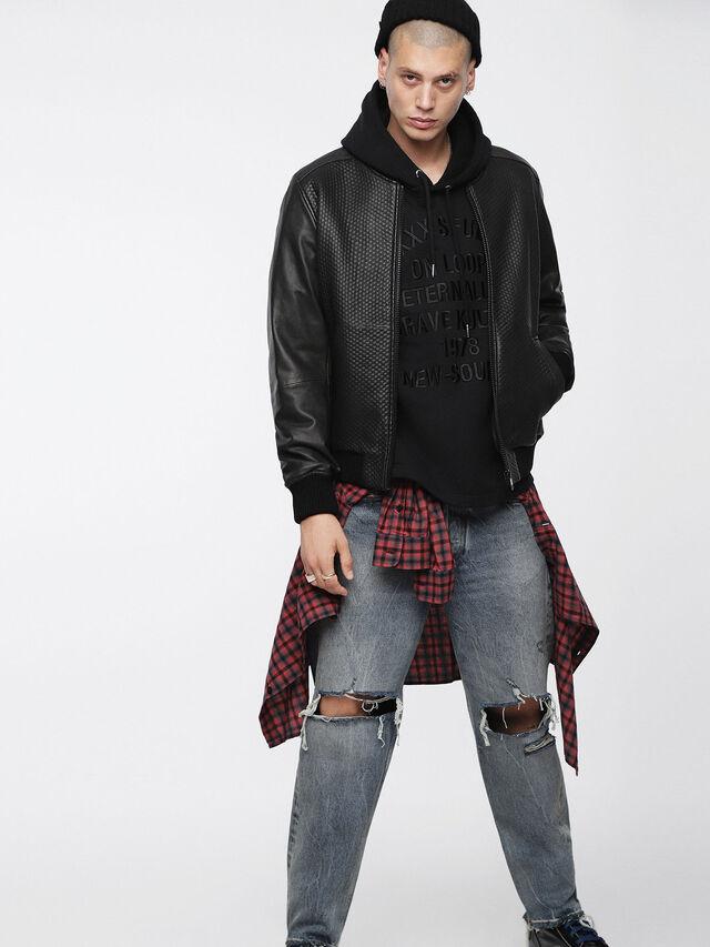 Diesel - L-NEWBON, Black Leather - Leather jackets - Image 4