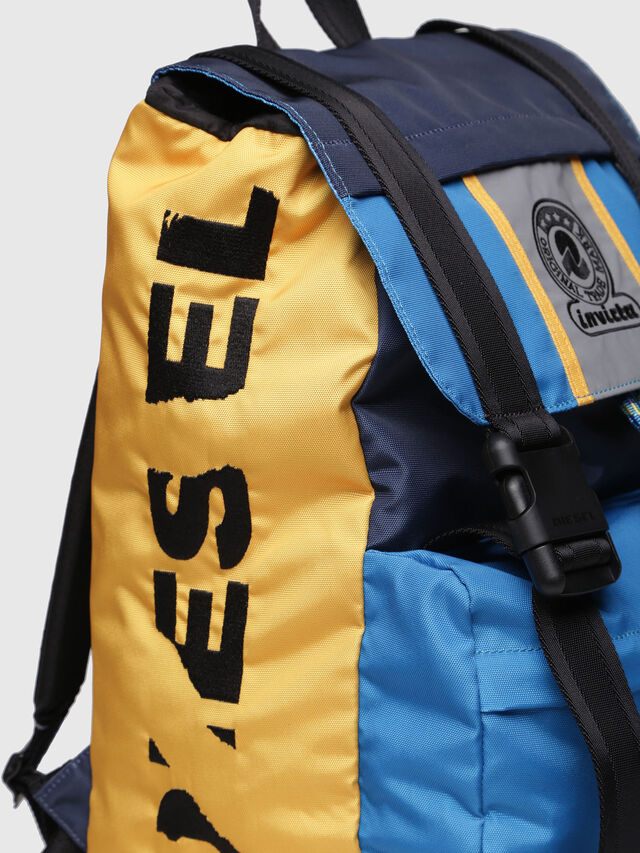 Diesel - M-INVICOLAB BACK I, Blue/Yellow - Backpacks - Image 3