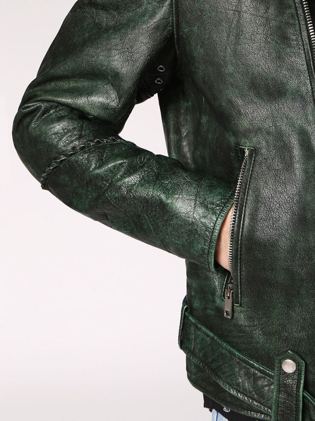 Diesel - L-GRIME, Dark Green - Leather jackets - Image 3