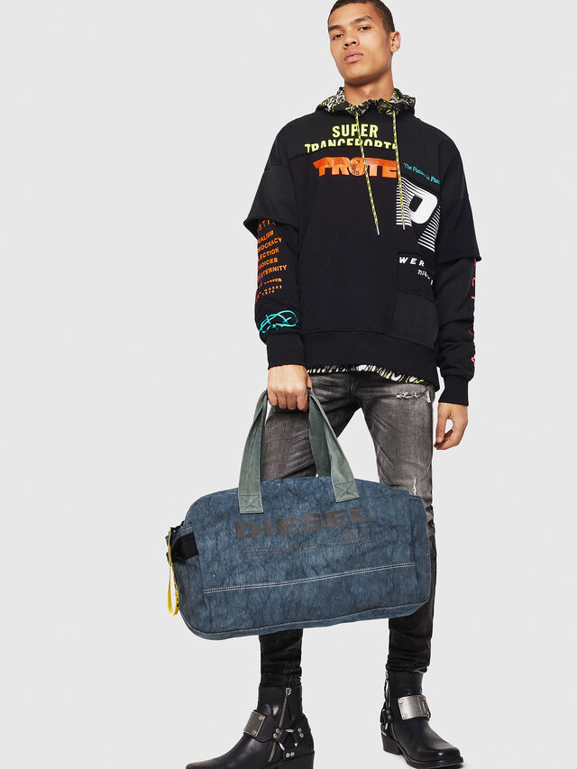 Diesel - D-THISBAG TRAVEL BAG, Blue Jeans - Travel Bags - Image 5