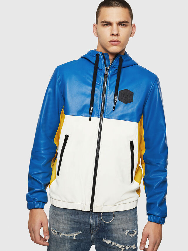 Diesel - L-CARR, Blue - Leather jackets - Image 1