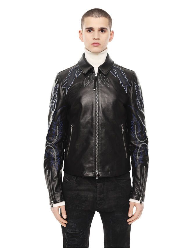 Diesel - LITEX, Black - Leather jackets - Image 1