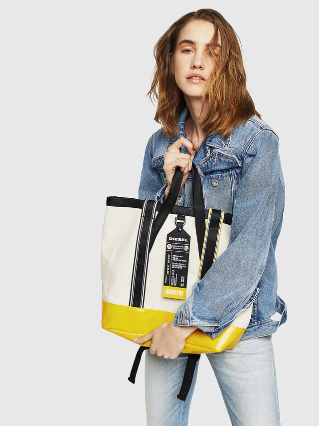 Diesel - F-CAORLY T BACK, White/Black - Shopping and Shoulder Bags - Image 7