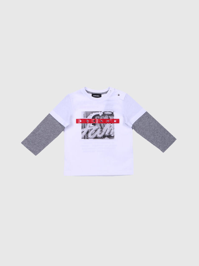 Diesel - TALTIXB, White/Grey - T-shirts and Tops - Image 1