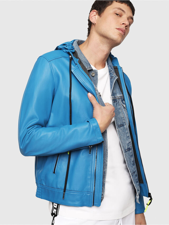 Diesel - L-RESTIL, Blue Marine - Leather jackets - Image 1