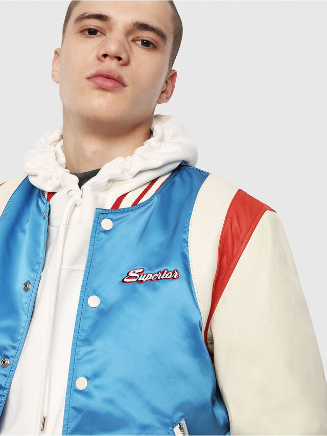Diesel - L-HARU, White/Red/Blue - Leather jackets - Image 5