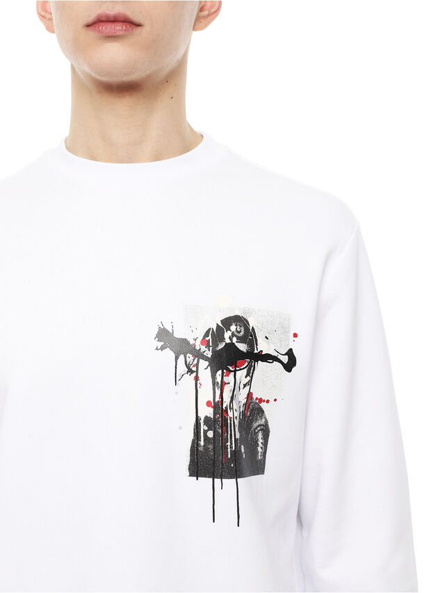 Diesel - SNEILB-DRIPPINGSOLDI, White - Sweatshirts - Image 3