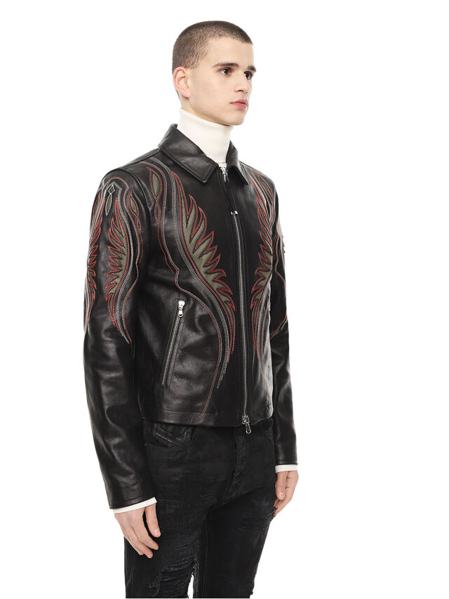 Diesel - LOLIQUE, Black - Leather jackets - Image 3