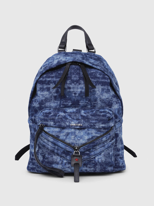 Diesel - LE-ZIPPER BACKPACK, Blue/White - Backpacks - Image 1