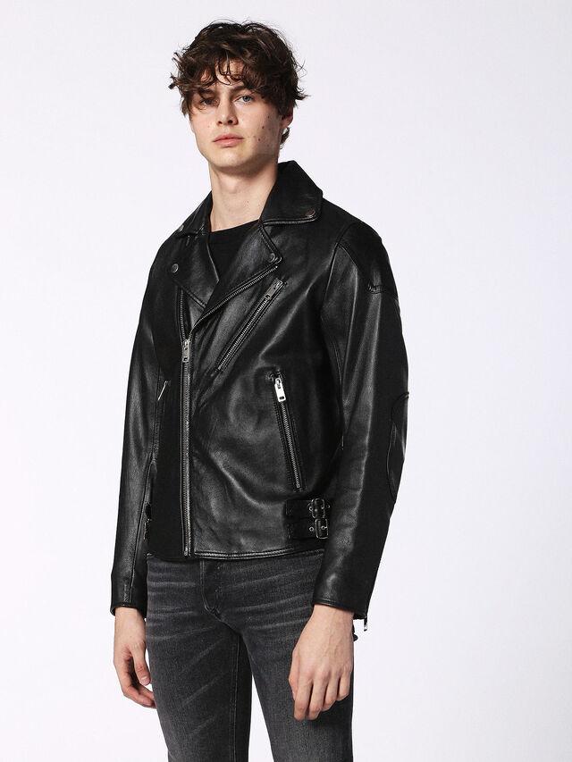 Diesel - L-KRAMPS, Black - Leather jackets - Image 1