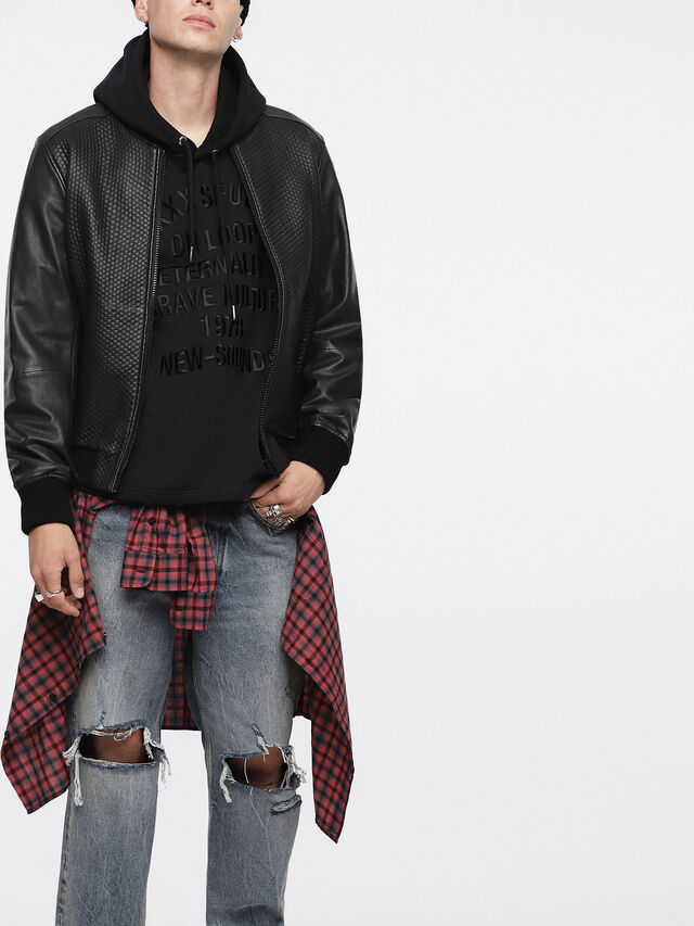 Diesel - L-NEWBON, Black Leather - Leather jackets - Image 1