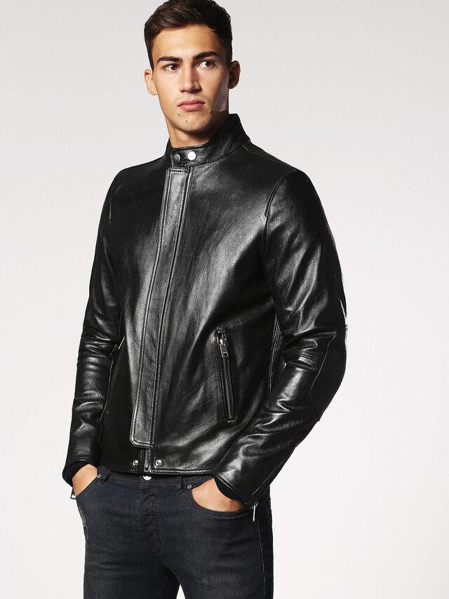 Diesel - L-RUSH, Black - Leather jackets - Image 1