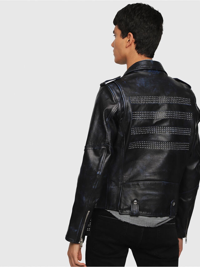 Diesel - L-KIO, Black/Blue - Leather jackets - Image 2