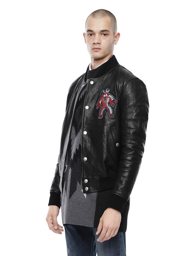 Diesel - LARAX-MASK, Black Leather - Leather jackets - Image 3