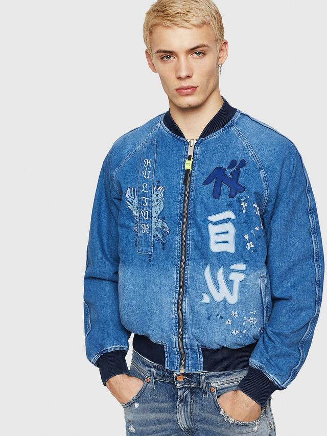 Diesel - D-BAK, Blue Jeans - Denim Jackets - Image 1