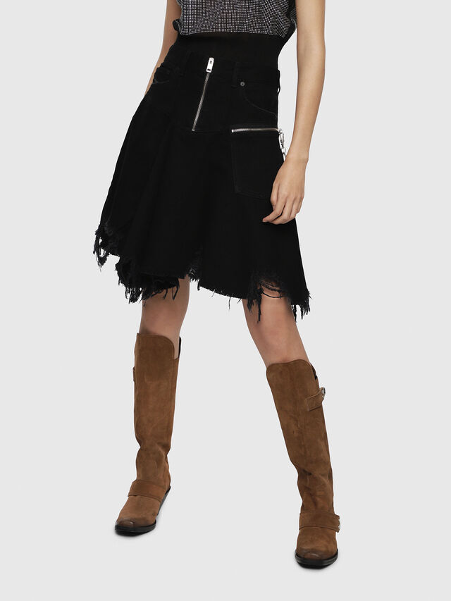 Diesel - DE-FRINSKIRT-P, Black Jeans - Skirts - Image 1