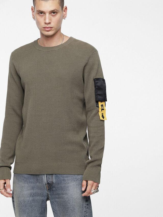 Diesel - K-WAFF, Olive Green - Sweaters - Image 1