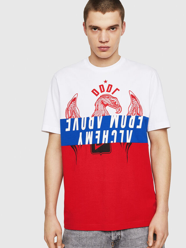 Diesel - T-JUST-A1, White/Red/Blue - T-Shirts - Image 1
