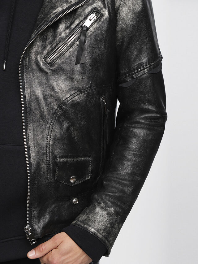 Diesel - L-INGRAN, Black Leather - Leather jackets - Image 5