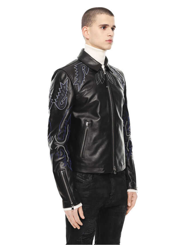 Diesel - LITEX, Black - Leather jackets - Image 3