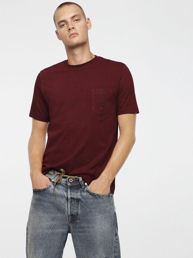 Diesel - T-JUST-POCKET, Burgundy - T-Shirts - Image 1