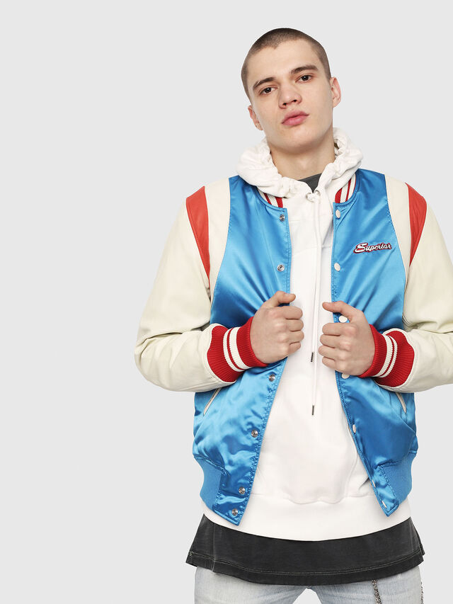 Diesel - L-HARU, White/Red/Blue - Leather jackets - Image 1