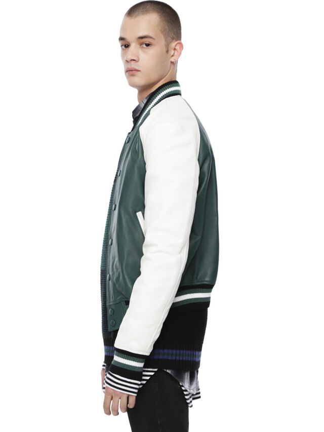 Diesel - LOLLEG, Green - Leather jackets - Image 3