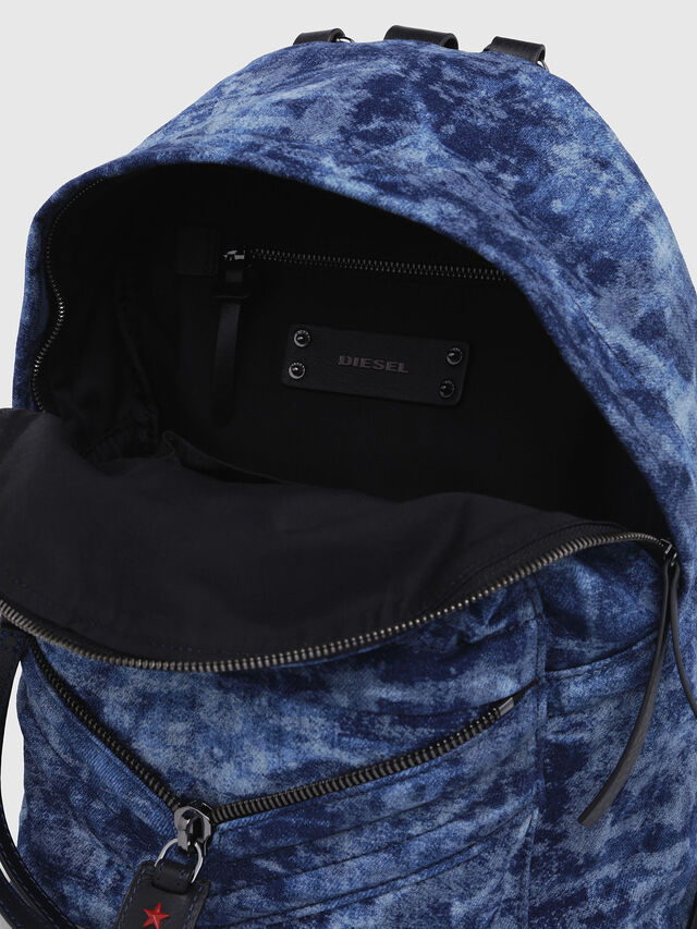 Diesel - LE-ZIPPER BACKPACK, Blue/White - Backpacks - Image 3