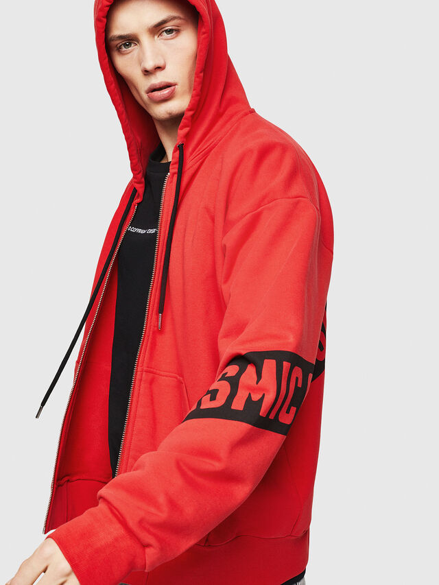 Diesel - S-ALBY-ZIP-A1, Fire Red - Sweatshirts - Image 4