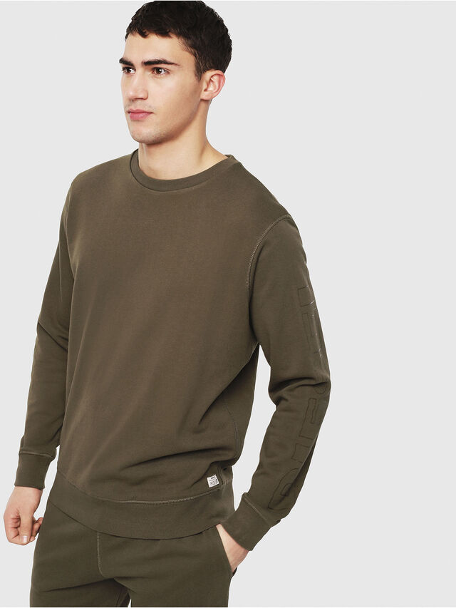 Diesel - UMLT-WILLY, Military Green - Sweatshirts - Image 1