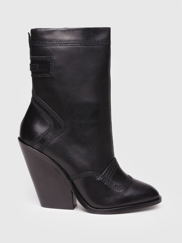 Diesel - D-FLAMINGO B, Black Leather - Ankle Boots - Image 1