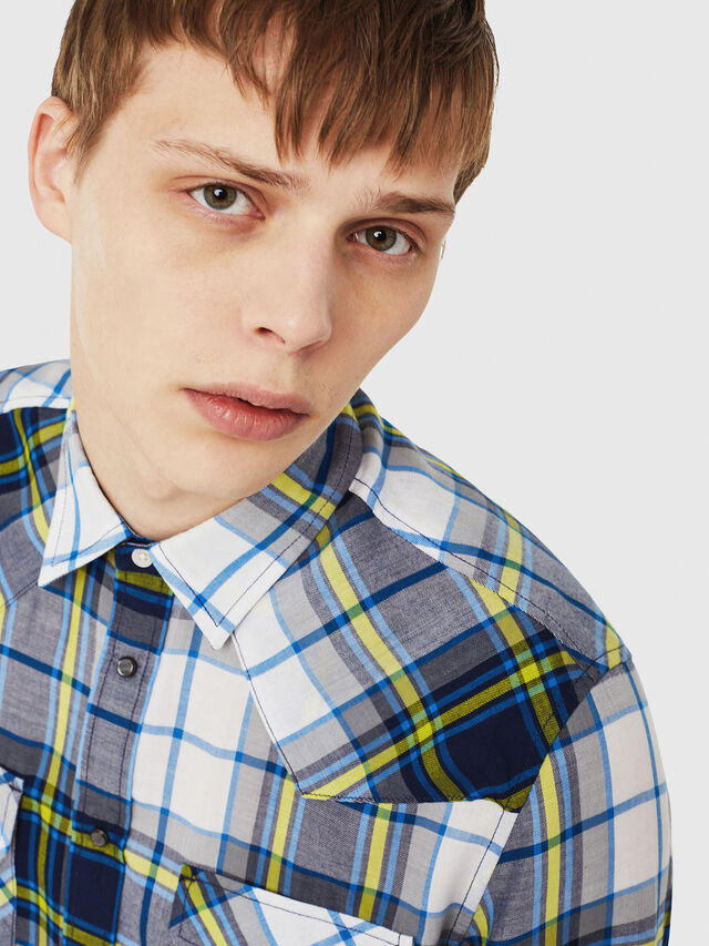 Diesel - S-EAST-LONG-F, White/Blue - Shirts - Image 3