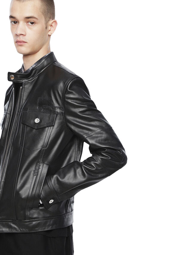 Diesel - LANPATCH, Black - Leather jackets - Image 3