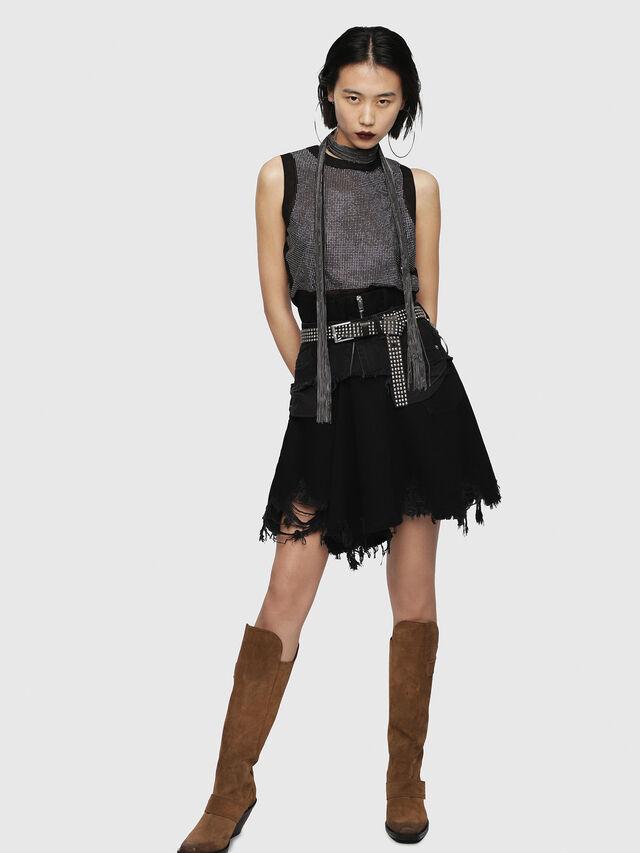 Diesel - DE-FRINSKIRT-P, Black Jeans - Skirts - Image 3
