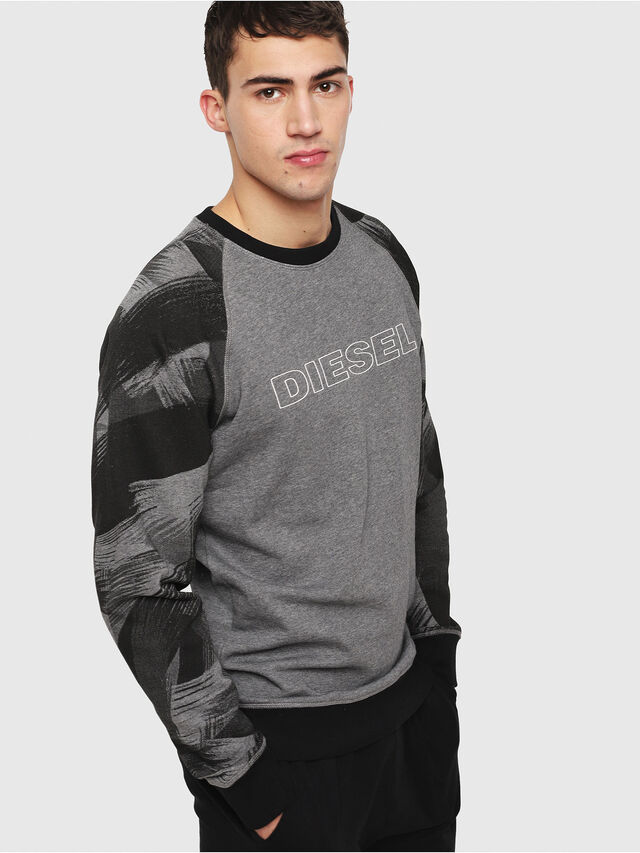 Diesel - UMLT-MAX, Gray/Black - Sweatshirts - Image 1