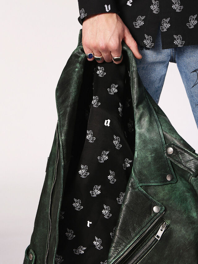 Diesel - L-GRIME, Dark Green - Leather jackets - Image 4