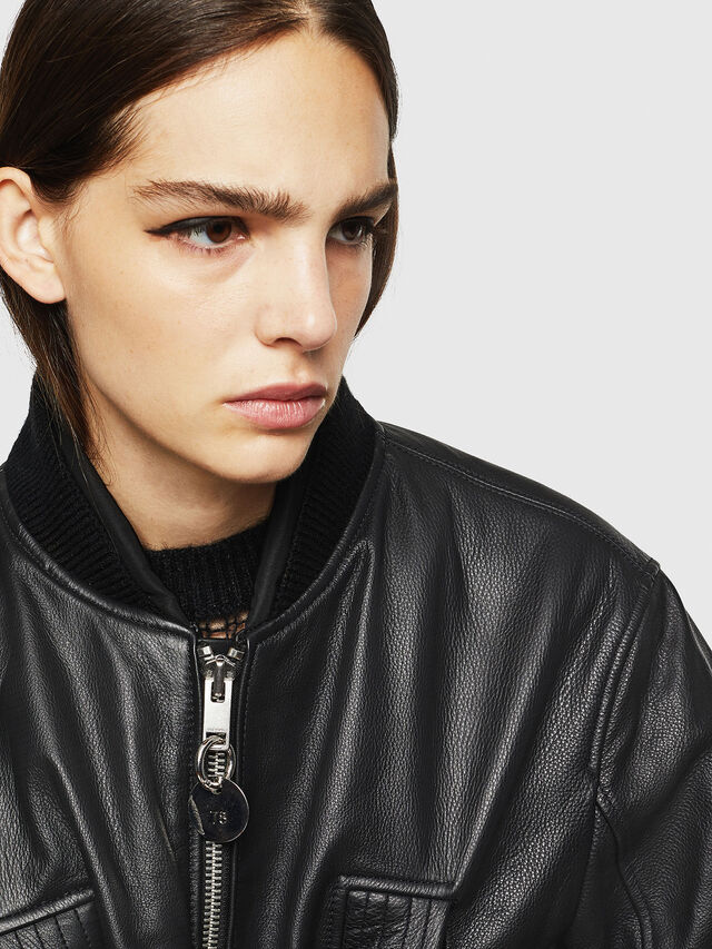 Diesel - L-MANUA, Black - Leather jackets - Image 3