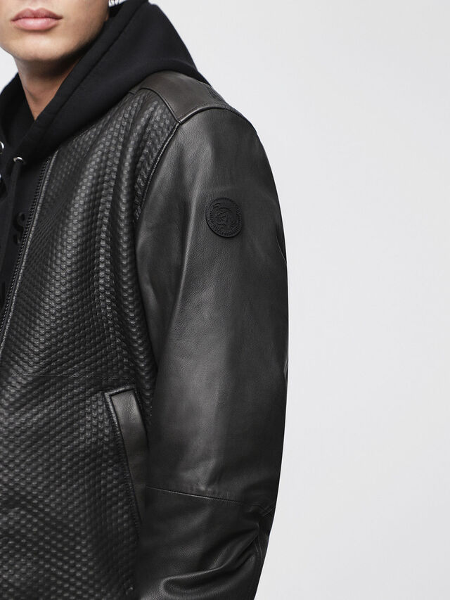 Diesel - L-NEWBON, Black Leather - Leather jackets - Image 3