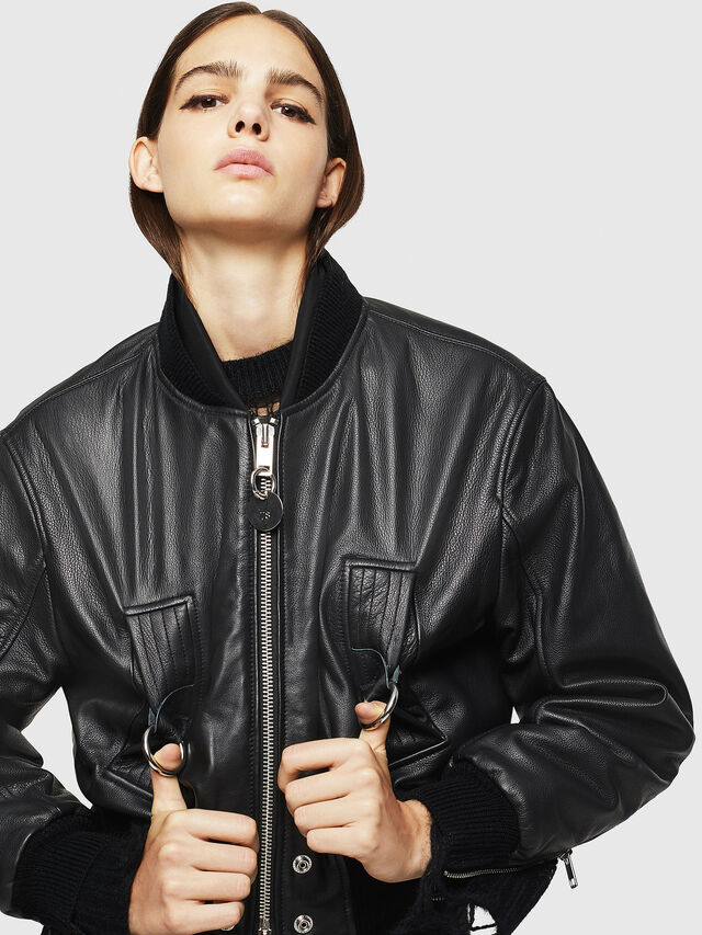 Diesel - L-MANUA, Black - Leather jackets - Image 4