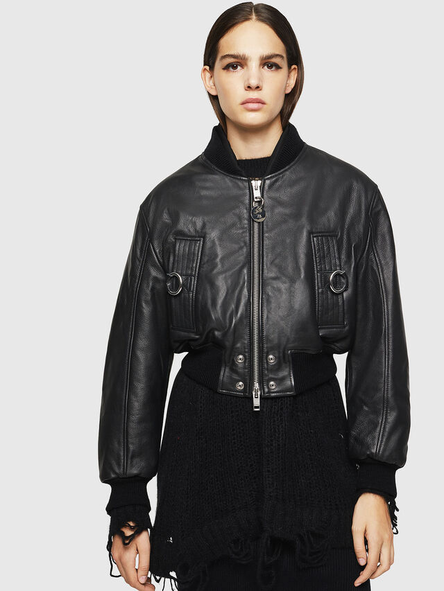 Diesel - L-MANUA, Black - Leather jackets - Image 1