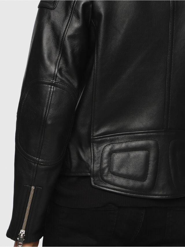 Diesel - L-RUSHIS, Black Leather - Leather jackets - Image 4
